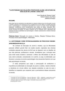 """""""A AFETIVIDADE NAS RELAÇÕES PROFESSOR"""