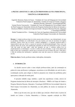 A PRÁTICA DOCENTE E A RELAÇÃO PROFESSOR
