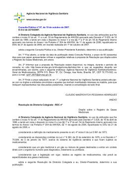 Proposta de Resolução que dispõe sobre o Registro de