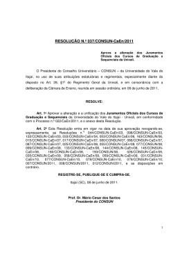RESOLUÇÃO N.º 037/CONSUN-CaEn/2011