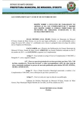 lei nº 133/2013 dispõe sobre a inclusão de paragrafo no artigo 63