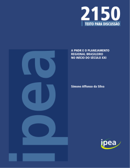 A PNDR E O PLANEJAMENTO REGIONAL BRASILEIRO NO INÍCIO