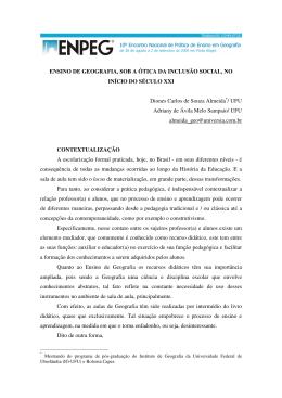 ENSINO DE GEOGRAFIA, SOB A ÓTICA DA INCLUSÃO SOCIAL