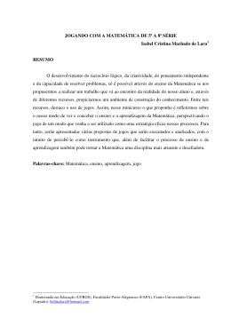 JOGANDO COM A MATEMÁTICA DE 5ª A 8ª SÉRIE Isabel Cristina