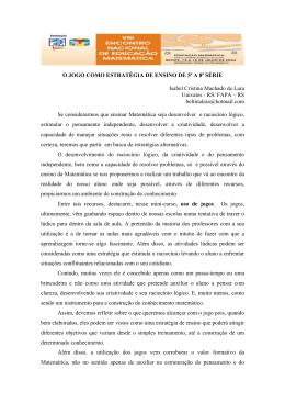 O JOGO COMO ESTRATÉGIA DE ENSINO DE 5ª A 8ª SÉRIE Isabel