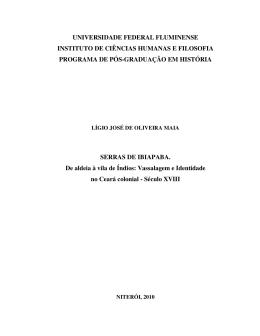 Serras de Ibiapaba. De Aldeia à Vila de Índios