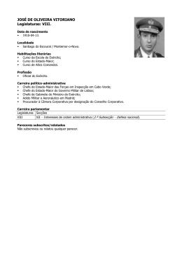 JOSÉ DE OLIVEIRA VITORIANO Legislaturas: VIII.