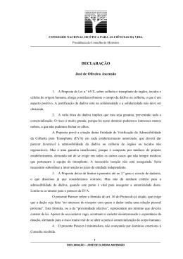 Declarações - Conselho Nacional de Ética para as Ciências da Vida