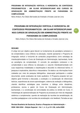 programa de integração vertical e horizontal de conteúdos