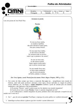 Atividades do plantão Leia este poema de José Paulo Paes