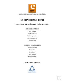 """1º congresso cepo """"psicologia oncológica na prática clínica"""""""