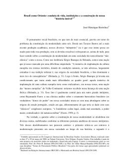 Brasil como Oriente: conduta de vida, instituições e a