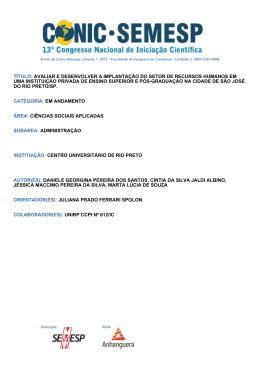TÍTULO: AVALIAR E DESENVOLVER A - O Conic