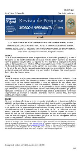 ISSN 2175-5361 Reis AT, Gama VC, Santos RS. Fetal alcohol
