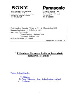 Sony Comércio e Indústria Ltda e Panasonic do Brasil Ltda.