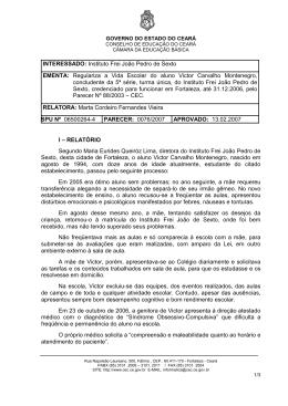 INTERESSADO: Instituto Frei João Pedro de Sexto EMENTA