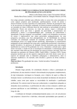 GESTÃO DE CURRÍCULO E FORMAÇÃO DE