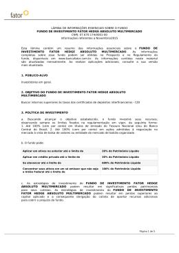 FUNDO DE INVESTIMENTO FATOR HEDGE ABSOLUTO