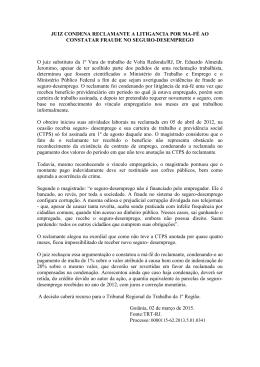JUIZ CONDENA RECLAMANTE A LITIGANCIA POR MA