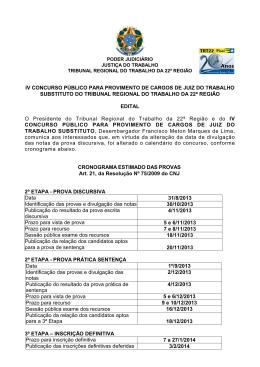 Cronograma - Tribunal Regional do Trabalho da 22ª Região