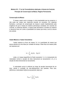 Princípio de Conservação da Massa. Regime Permanente.
