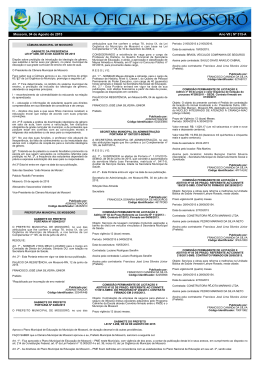 Mossoró, 04 de Agosto de 2015 Ano VII | Nº 315-A