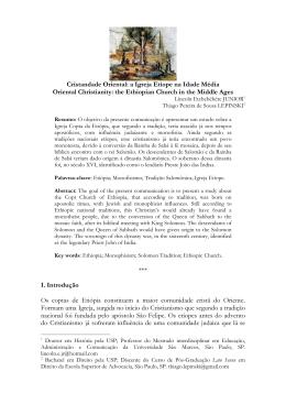 Cristandade Oriental: a Igreja Etíope na Idade Média