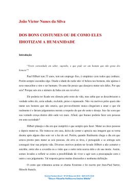 João Victor Nunes da Silva DOS BONS COSTUMES OU DE COMO
