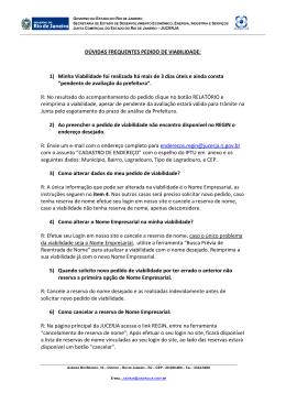 DÚVIDAS FREQUENTES PEDIDO DE VIABILIDADE: 1