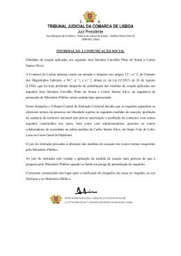 TRIBUNAL JUDICIAL DA COMARCA DE LISBOA Juiz Presidente