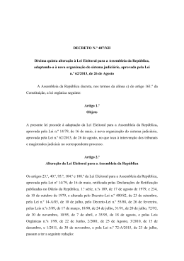 DECRETO N.º 407/XII Décima quinta alteração à Lei Eleitoral para a
