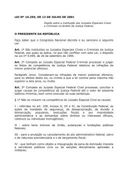 LEI Nº 10.259, DE 12 DE JULHO DE 2001 O PRESIDENTE DA