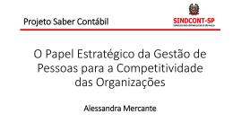 O papel estratégico da gestão de pessoas para a - Sindcont-SP