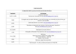 cronograma curso de especialização em gestão de pessoas