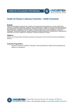 Gestão de Pessoas e Liderança Corporativa – Gestão