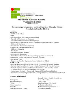 Documentos para ingresso no Instituto Federal de Educação