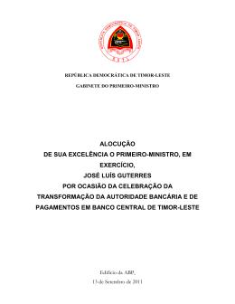 Alocução de S. E. o Primeiro-Ministro em Exercício, José Luís Guterres