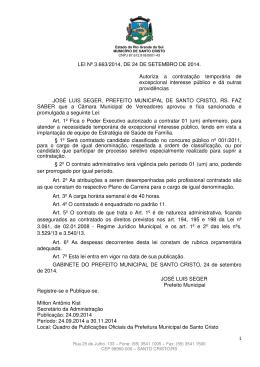 LEI Nº JOSÉ LUIS SEGER, PREFE SABER que a Câmara Municipa