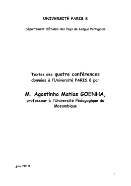 Conferences Agostinho Goenha juin 2010