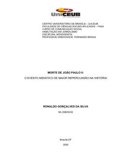 MORTE DE JOÃO PAULO II: O EVENTO MIDIÁTICO DE