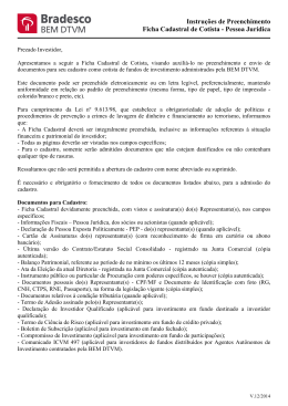 Instruções de Preenchimento Ficha Cadastral de Cotista