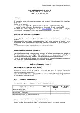 INSTRUÇÕES DE PREENCHIMENTO ANÁLISE TÉCNICA DE