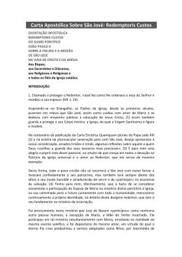 Carta Apostólica Sobre São José: Redemptoris Custos