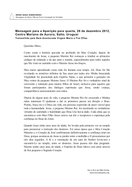 Mensagem para a Aparição para quarta, 26 de dezembro 2012