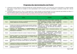 Programa das Apresentações em Poster