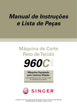 Singer 960C Cortadeira Reta | Manual de Instruções e Lista de Peças
