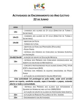 actividades de encerramento do ano lectivo 22de junho