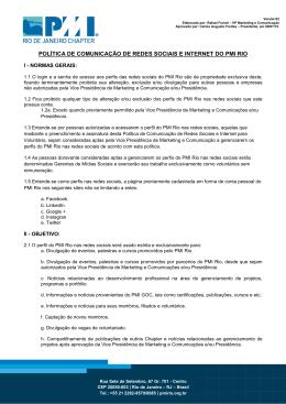 política de comunicação de redes sociais e internet do pmi rio