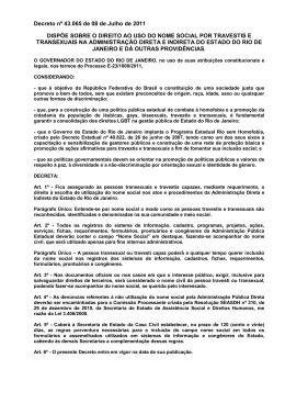 Decreto nº 43.065 de 08 de Julho de 2011 DISPÕE SOBRE