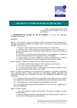 DECRETO Nº 43.058, DE 04 DE JULHO DE 2011
